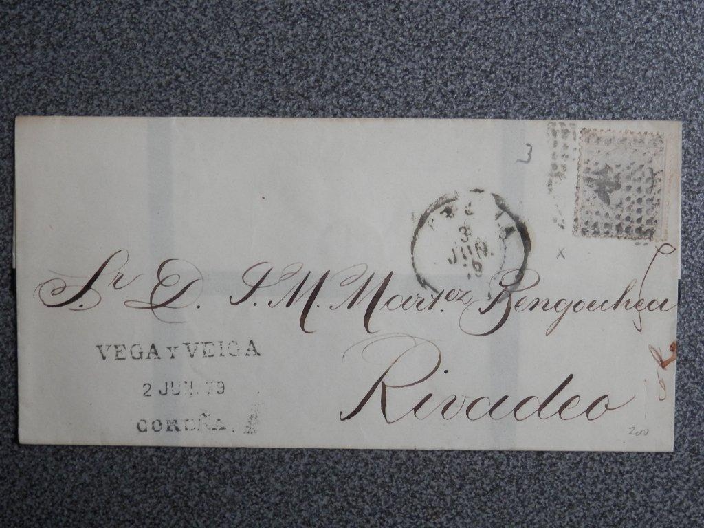 ENVUELTA-ANO-1879-EDIFIL-204-CORUNA-A-RIVADEO-MEMBRETE-DE-VEGA-Y-VEIGA